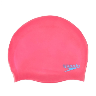 SPEEDO ACCESSORIES JUNIOR SWIMMING PLAIN MOULDED SILICONE CAP PINK 70990-A064