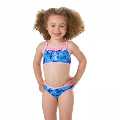 SPEEDO KIDS GIRLS SWIMMING DISNEY FROZEN ESS FRILL 2PC SMIWSUIT 07971-C783