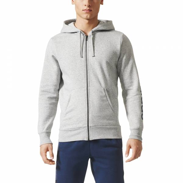 ADIDAS MEN CLOTHING ESSENTIALS LINEAR FLEECE ZIP HOODIE BQ9636
