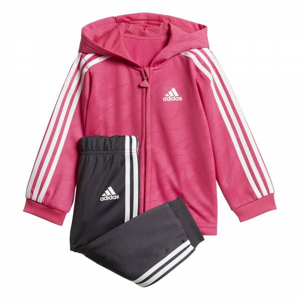 ADIDAS INFANTS GIRLS SHINY FULL ZIP HOODED JOOGER SET DJ1578