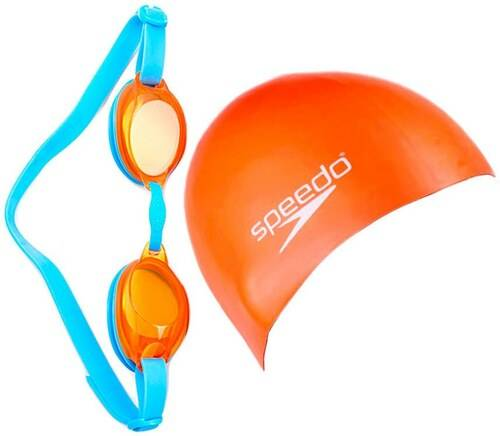 SPEEDO ACCESSORIES JUNIOR JET V2 SWIM SET CAP AND GOOGLES 09302-B996