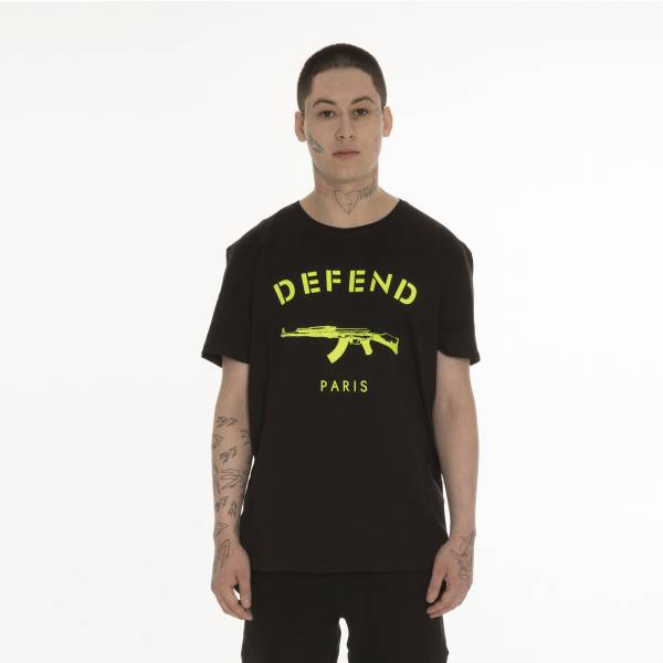 DEFEND PARIS MEN T-SHIRT PARIS TEE NEON BLACK
